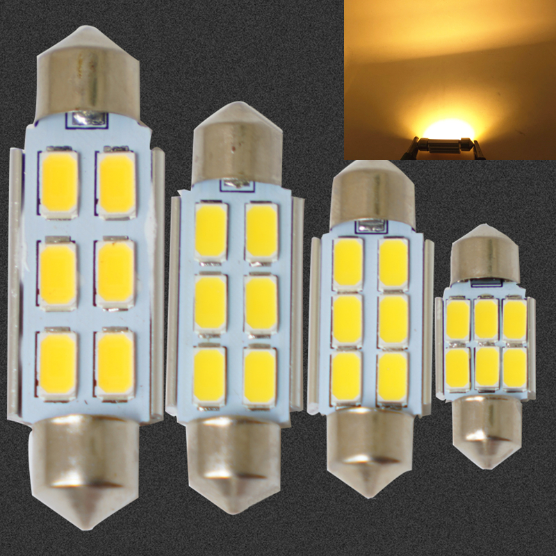 CANBUS 4300K Warm White31MM 36mm 39MM 41MM 6SMD LED Festoon Dome,license plate,roof,glove box lighting interior bulbs ERROR FREE 2pcs 12v 31mm 36mm 39mm 41mm canbus led auto festoon light error free interior doom lamp car styling for volvo bmw audi benz