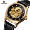 Мужские часы Лидирующий бренд Роскошные 3D Дракон скелет мужские из натуральной кожи Бизнес часы автоматические механические часы Relogio ...
