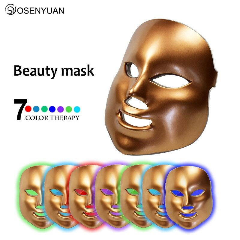 2018 upgraded PDT photon led facial mask 7 colors led light therapy skin rejuvenation wrinkle removal