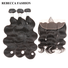Ребекка бразильского волос Weave 2/3 Связки с 13×4 Накладные пряди на кружеве для передней части головы Боде волна Remy Человеческие Волосы Связки с Накладные волосы для салона волос