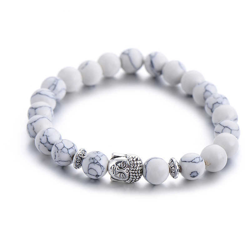 Classic Natural Stone Buddha Head Charm Bracelet For Women Chic Silver Color Energy Yoga Bracelets Fashion Men Jewelry