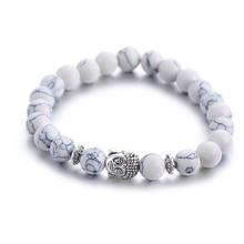 Classic Natural Stone Buddha Head Charm Bracelet For Women Chic Silver Color Energy Yoga Bracelets Fashion Men Jewelry цены онлайн