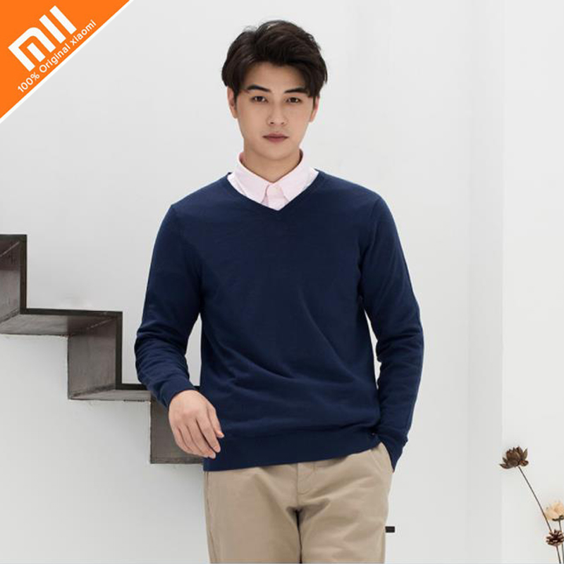 Original xiaomi PROEASE100% Merino sweater men's spring and autumn V-neck, round neck can be matched with shirt army green v neck knot sweater