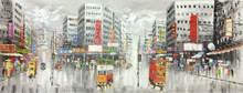 Ручная роспись маслом на холсте абстрактные гонконгские трамваи