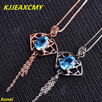 KJJEAXCMY boutique jewels 925 pure silver, Necklace of natural Topaz Blue Lotus powder stone pendant drop female send chain ad