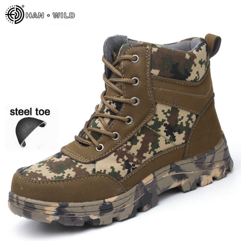 aba3a9ec87062 Men Safety Work Boots Winter Camouflage Army Warm Steel Toe Cap Shoes Mens  Labor Insurance Puncture