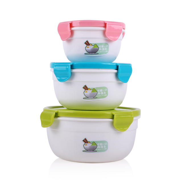 Beihe BPA Free Fruit Vegetable Lunch Hierarchy Plastic Food Container Sets  Kitchen Three Packs Boxes For