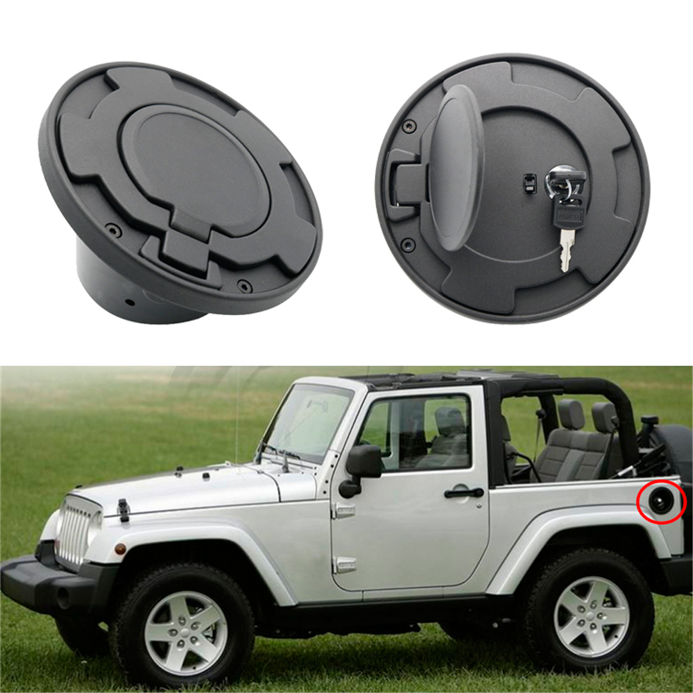 For Jeep Gas Tank Cover Plated Black Car Door Fuel Oil Cap Car Styling Accessories for Jeep Wrangler JK 2/4 Door 2007-2016 yearFor Jeep Gas Tank Cover Plated Black Car Door Fuel Oil Cap Car Styling Accessories for Jeep Wrangler JK 2/4 Door 2007-2016 year