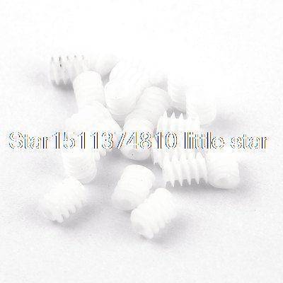 20 Pcs White Plastic RC DIY Toy Motor Gear Worm Screws Replacement 6x8mm