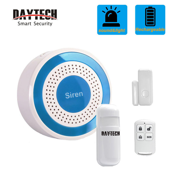 DAYETCH Wireless Siren Sensor System 433Mhz Door Sensor PIR Alert Alarm Security System Light And Sound Strobe Siren(JH006-kit)