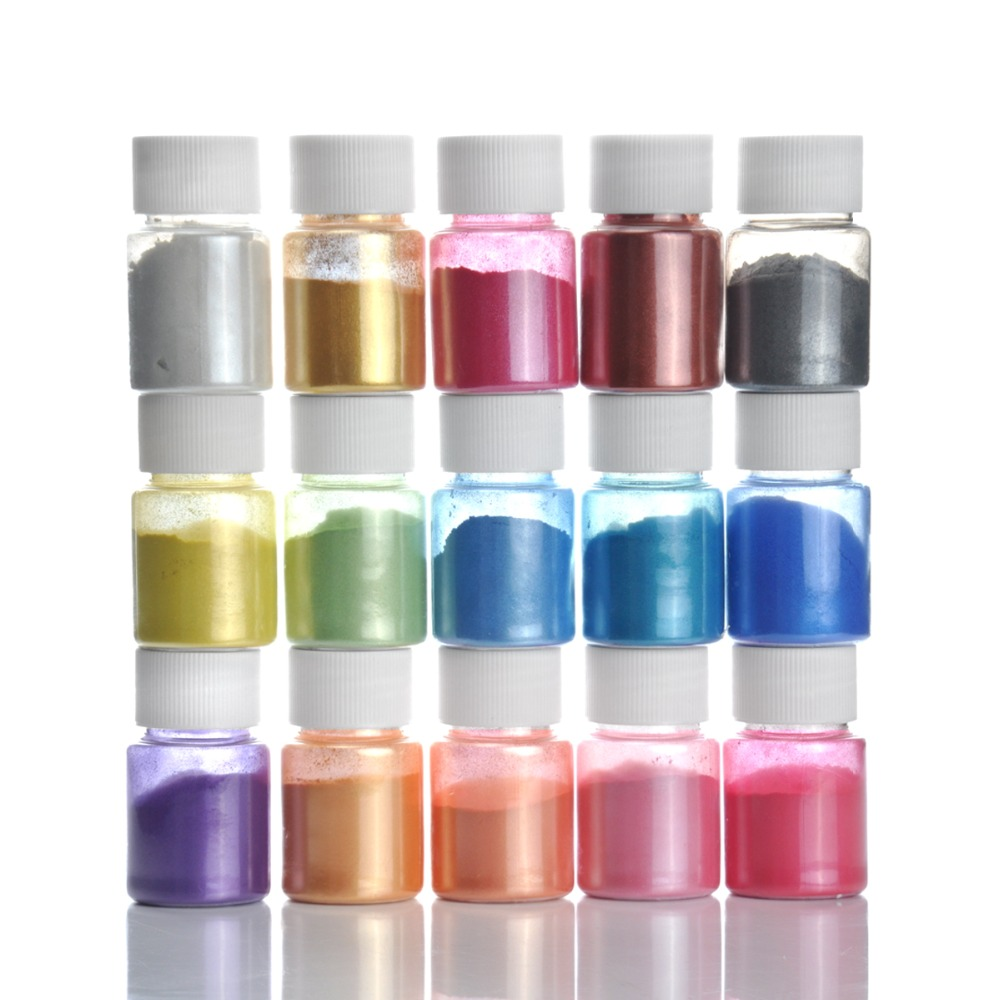 15 Colors For Soap Making/Soap Dyes/Nail Art/Eyeshadow DIY Mica Powder Pigment Supply Kit Powder Resin In Bottle Organized