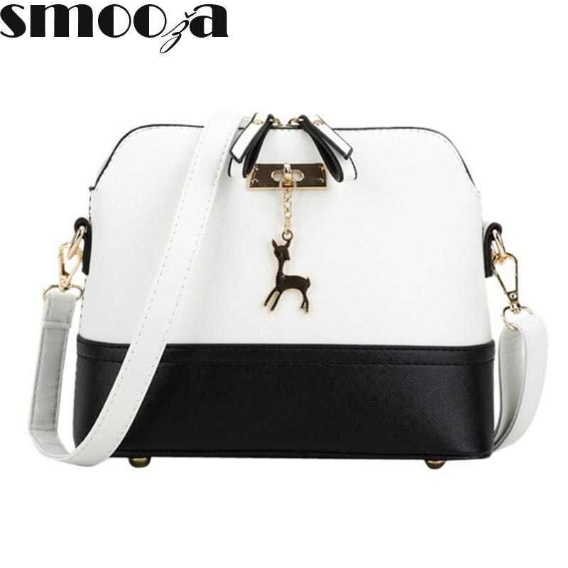 SMOOZA горячие женские сумки модные сумки в виде ракушки кожаные женские сумки-мессенджеры для девочек на плечо Декоративный олень фирменный мешок