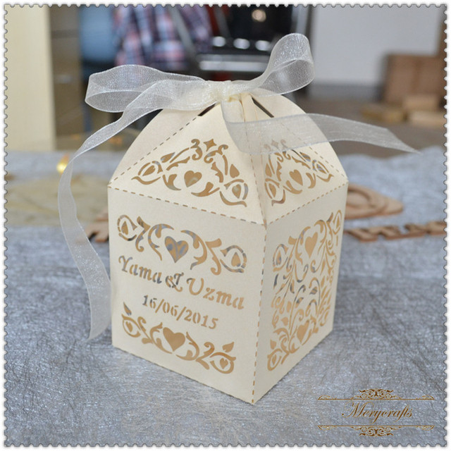 Personalised Laser Cut Luxury Wedding Favours Macaron Packaging