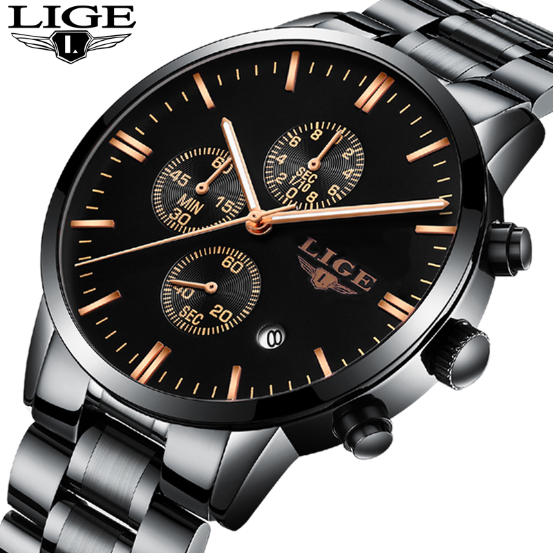 LIGE Fashion Male Wrist Watch Men Steel Band Quartz Hand Watch Casual Chronograph Gentalman Clock Relogio Masculino Hodinky 27 2016 hot sale fashion brand men watch stainless steel band quartz wrist watch casual business watch relogio masculino clock