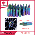 20 unids/pack neo chrome arco iris longitud blox racing tuercas de las ruedas 60mm con picos m12x1.5/1.25 rs-ln014n