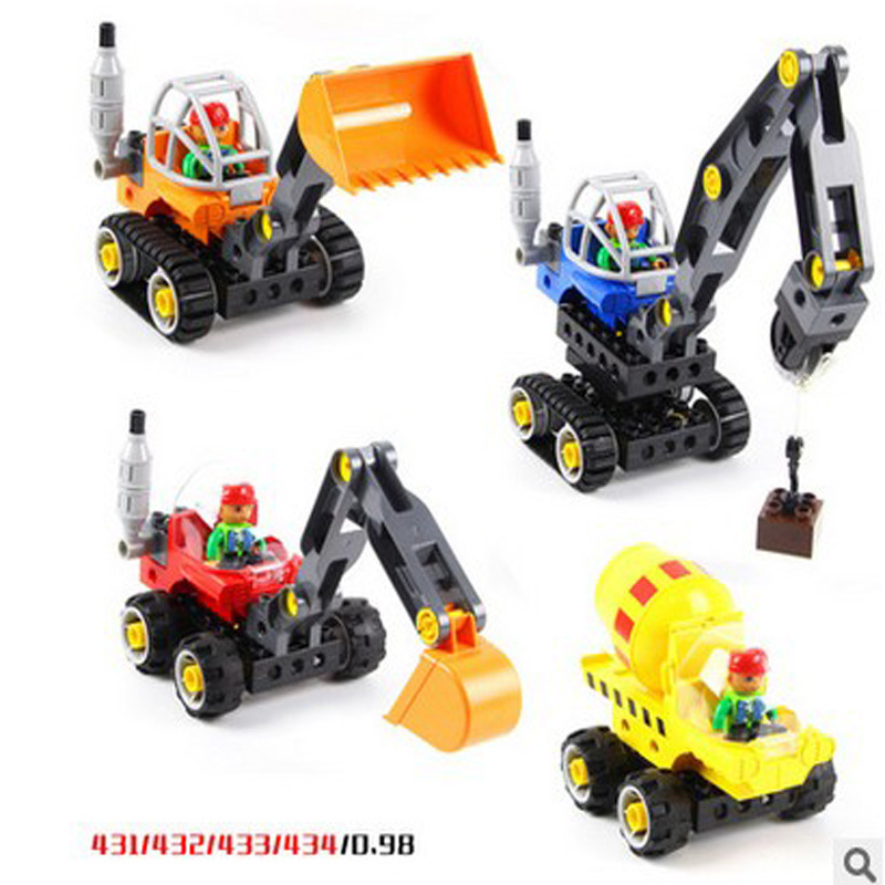 WANGE 5 in 1 Technical Machines Big Size Bricks 38pcs+5Cards Excavator DIY Building Blocks Educational Kids Toys wange 8011 21 great architectures 11 models london bridge big ben tiananmen building block sets educational diy bricks toys
