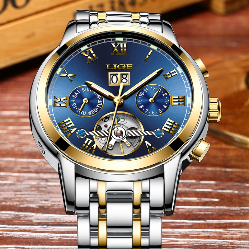 LIGE Mens Watches Top Brand Luxury Fashion Quartz Watch Men Business All Steel Waterproof Sport Clock Male Watch Erkek Kol Saati business men dress watch mens fashion quartz watches analog calendar steel male wristwatches kicadn casual clock erkek kol saati