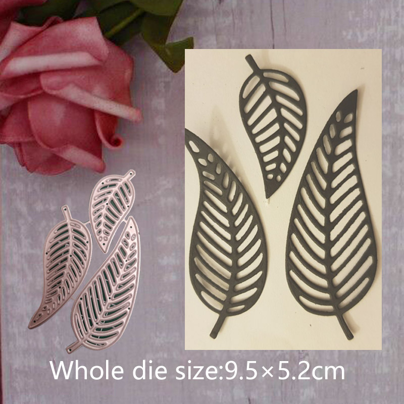 3Pcs Leaf Metal Steel Cutting Embossing Dies For Scrapbooking paper craft home decoration Craft 9.5*5.2 cm