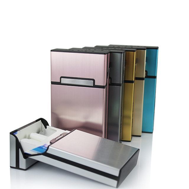 Ultra Thin Women  Pipes Creative Personality Cigaret Case Slim Metal Cigarette Box Aluminum Gift Box Cigarette Holder