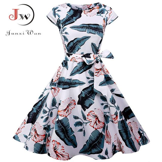 Plus Size Women Summer Dresses Vintage 50s 60s Robe Retro Pin Up Swing Floral Polka Dot Rockabilly Dress Elegant Party Dress 2