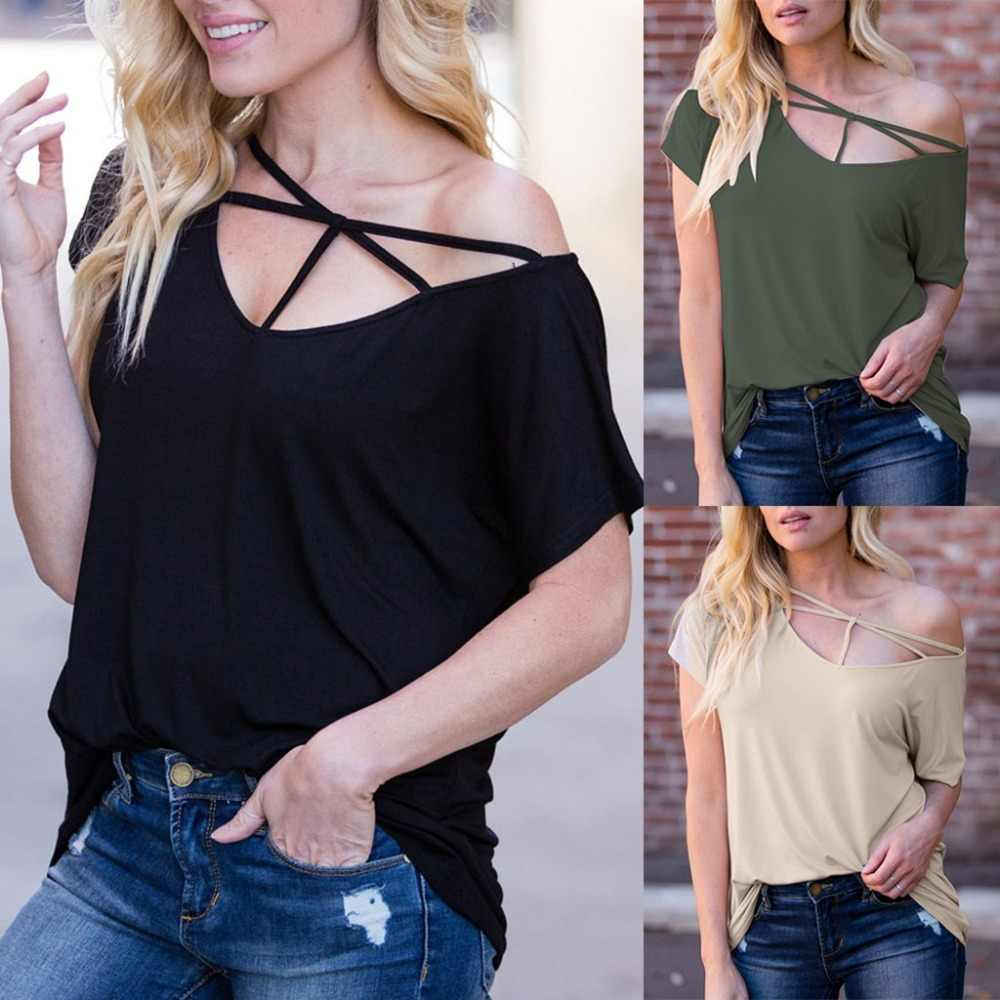 여성 패션 프론트 크로스 리본 v 넥 솔리드 컬러 캐주얼 탑 반팔 여름 루스 여성 티셔츠 usps dropshipping