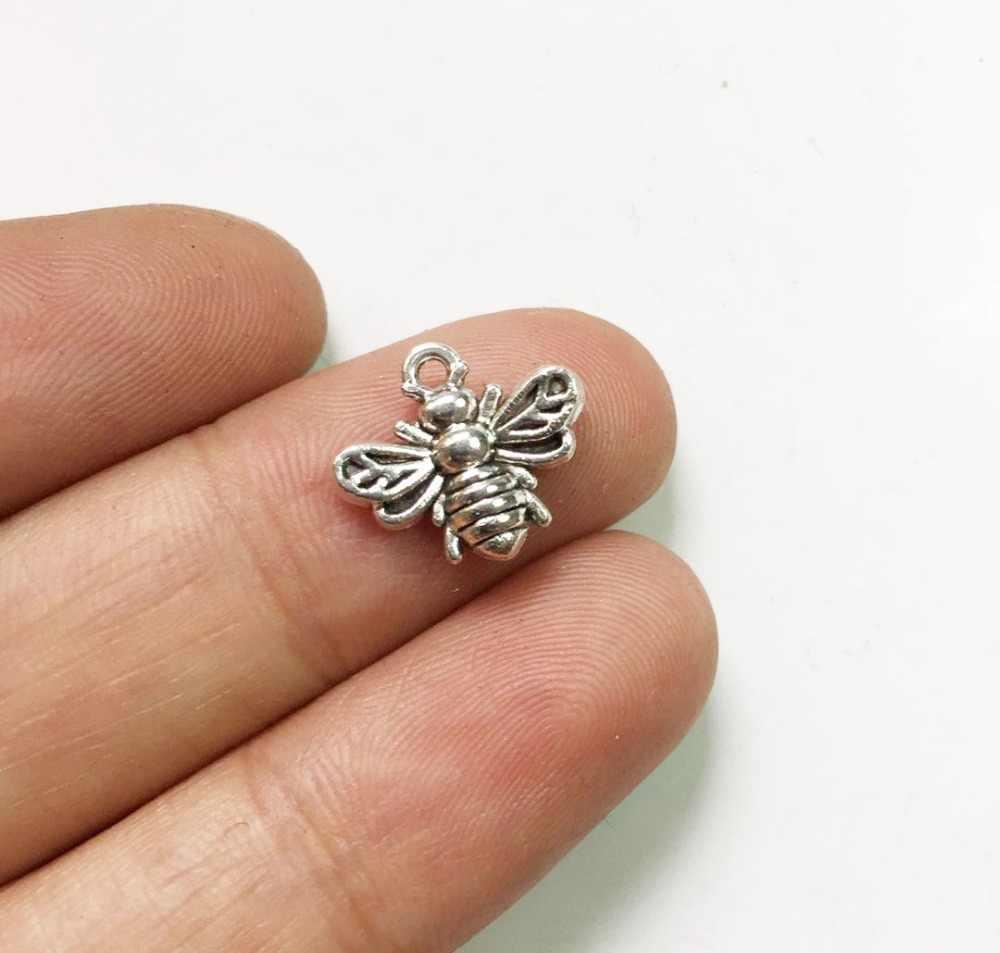 Eruifa 20 個 13*12 ミリメートルミニ蜂チャーム亜鉛合金ネックレス、イヤリングブレスレットジュエリー diy 手作り 2 色