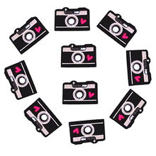 Camera shape Patch Iron Embroidered Applique on Patches Sewing Accessories Badge Stickers Clothes Bag DIY BT095