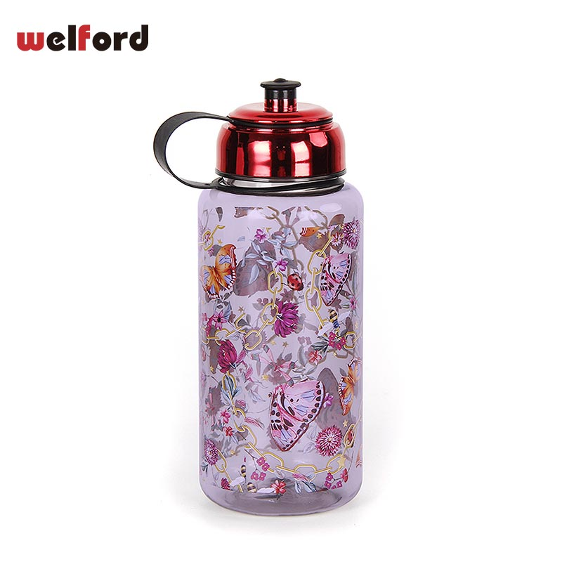 Butterfly Clear Plastic Large Capacity Sports Water Bottle for Bicycle Hiking Clamping Car and Trave 1000ML Leak Proof BPAfree