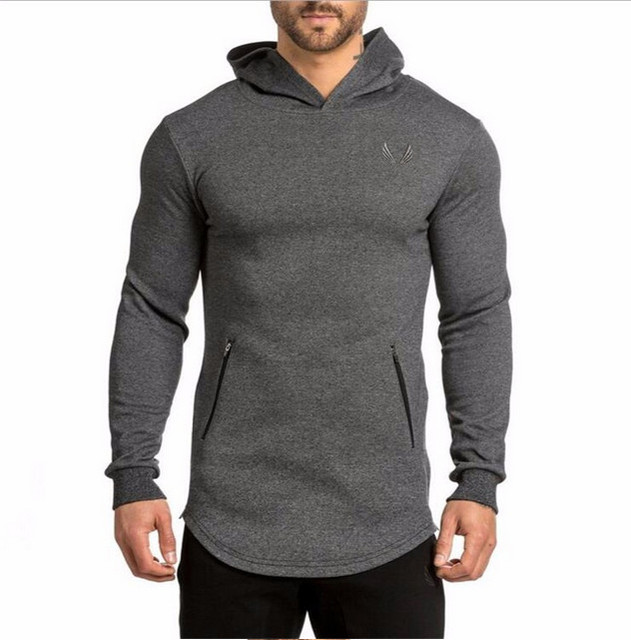 2017 Fashion Men's Long Hoodies Pullover Sweatshirts Fitness Clothes Side Zipper Longline Hip Hop Sweatshirts Streetwear Shirt
