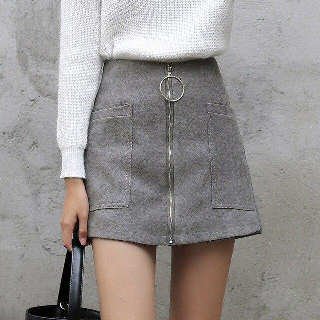 Лолита Стиль Для женщин Высокая Талия зимнее мини-юбка трапециевидной формы с большими карманами спереди/Молния сзади Синтетическое закрытие волос темно-синий серый Юбки-шорты