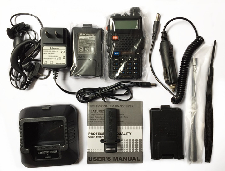 BaoFeng UV-5R Walkie Talkie+car charger cable+small battery case Handy Hunting Radio Receiver With Headfone