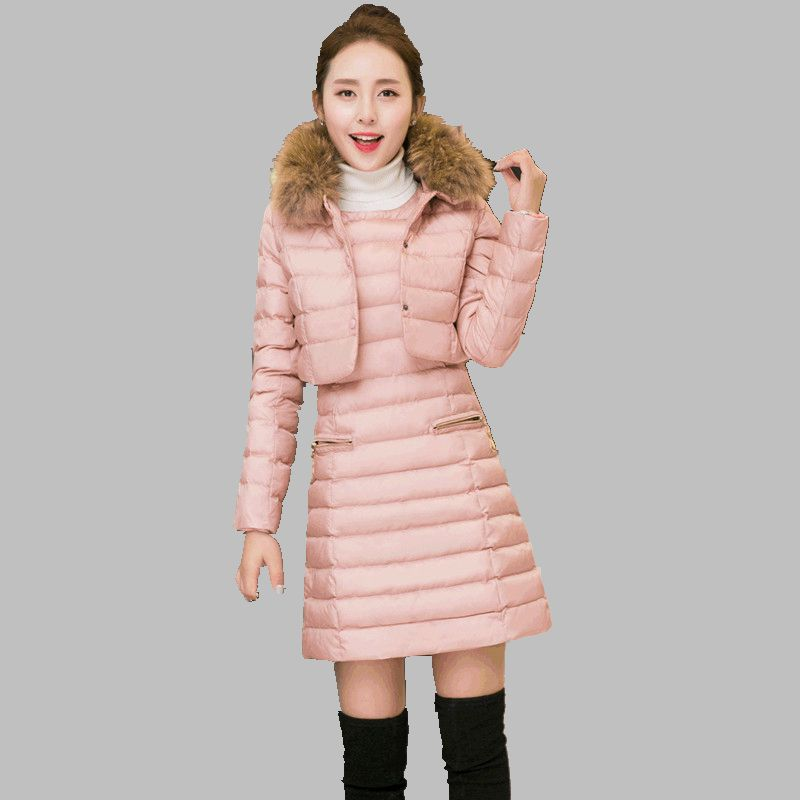 Ukraine Time-limited 2017 New Fashion Winter Women Slim Coat Two-piece Long Pure Color Thicken Cotton-padded Jacket Suits A0145 2015 time limited rushed coat jacket fruit tea pure natural fresh dried lotus leaf to lose belly slimming plants oem processing