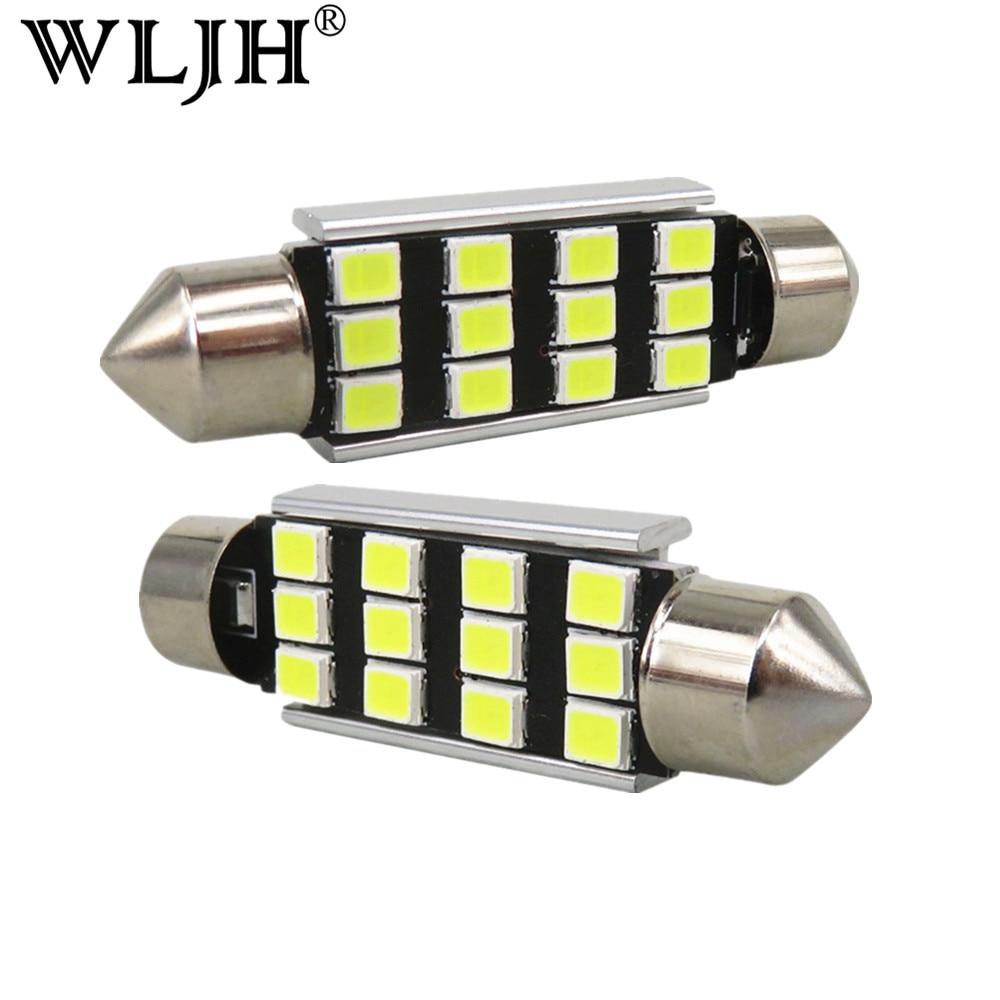 WLJH 6x vysoce kvalitní jasný 42mm led C5W Canbus 2835 SMD 2color automobilová automobilová 12VDC poznávací značka pro Audi A4 A5 S4 S5