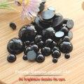 Envío gratis 2 mm - 12 mm imitación ABS flatback negro medias alrededor cabochon para la decoración de DIY perla del arte del clavo etc