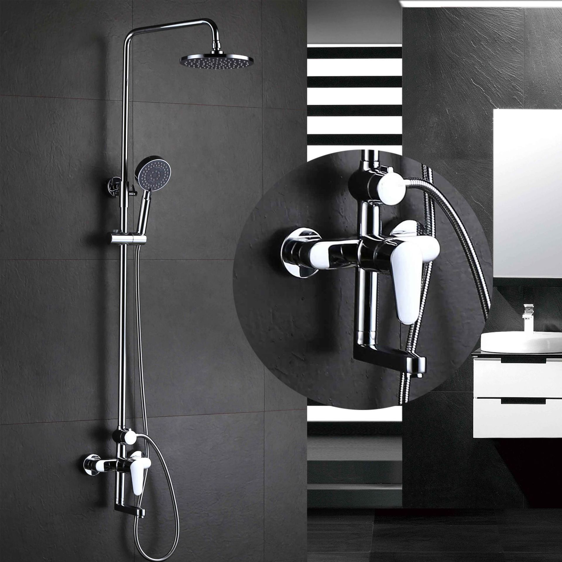 chrome all copper Hot and cold mixer shower faucet three ...
