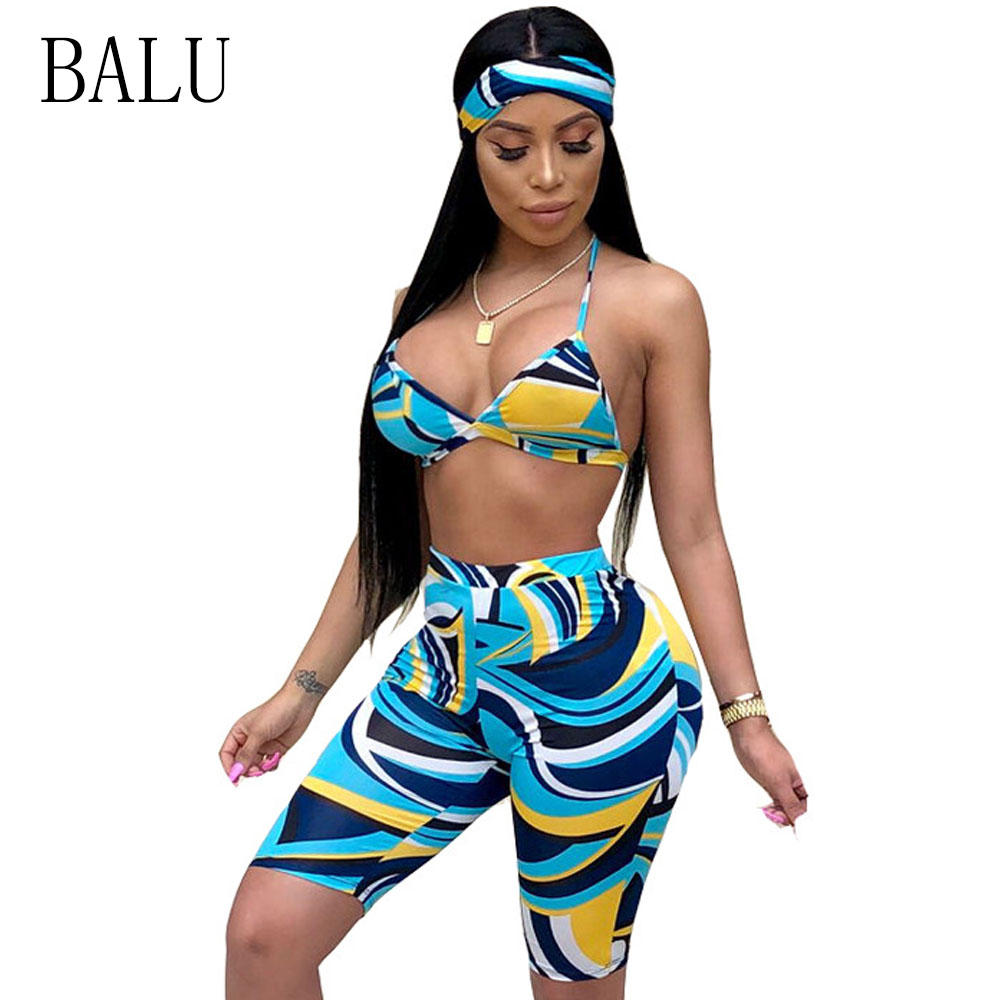 BALU Two Piece Set Summer Print Halter Neck Crop Tops And Pants Sexy Beach Matching Sets Shorts To The Knees Big Size S-XXXL