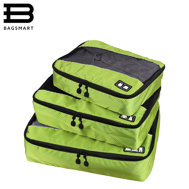 BAGSMART 3 Pcs/Set Unisex Nylon Packing Cubes For Clothes Lightweight Travel Bags For Shirts Waterproof Duffle Bag Organizers