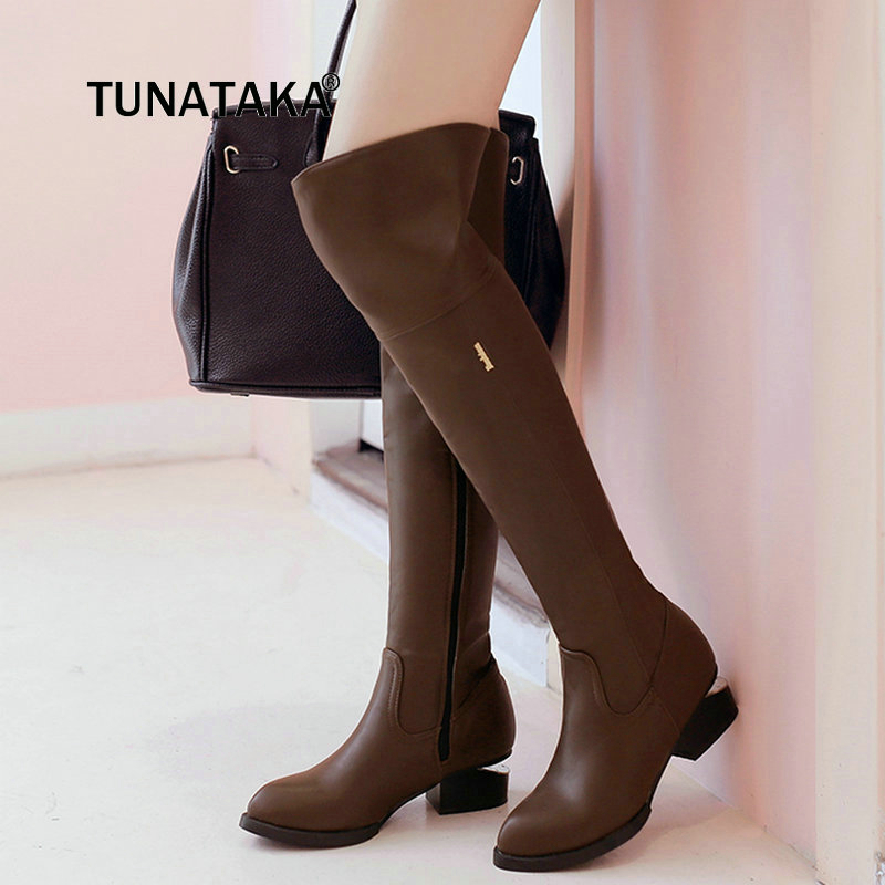 где купить  Women Thick High Heel Thigh Boots Fashion Side Zipper Over The Knee Pointed Toe Shoes Woman Black Brown  по лучшей цене