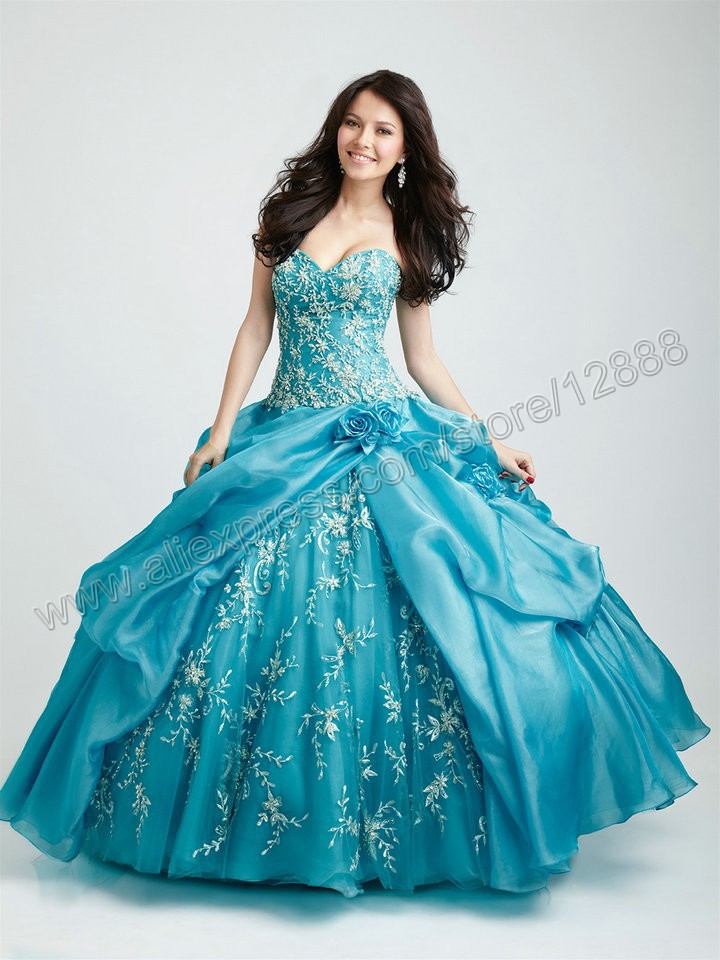 07e34b1266 Sweetheart Organza Ball Gown New Arrival Turquoise Quinceanera Dresses  Silver Embroidery
