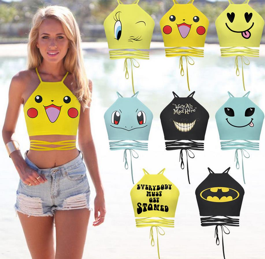 Anime cosplay Cartoon Pokemon Go to New Women Casual Top Blouse Slim Print Crop Top Tank T-Shirt Game Fans vest