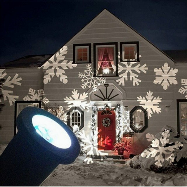 outdoor christmas laser projector winter snowflake stage spotlight garden house landscape fairy snowflake effect light decor