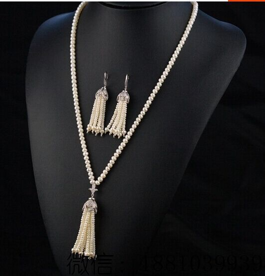 wholesale natual AA 9-10mm white round freshwater pearl with tassel and earrings necklace and earrings a suit of leaf faux pearl rhinestone necklace and earrings
