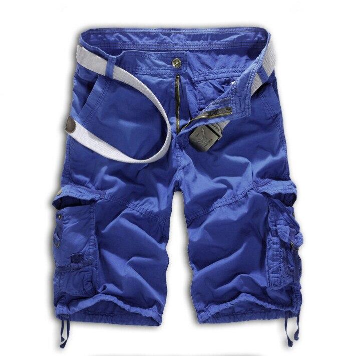 Мужские хлопковые шорты, новинка, мужские модные камуфляжные шорты Карго размера плюс, повседневные камуфляжные шорты с несколькими карманами в стиле милитари - Цвет: Небесно-голубой