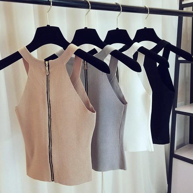 2018 New Korean Skiny Sexy Off Shoulder Knit Back Zipper Women Vest Tank Lady Crop Top Female Black White