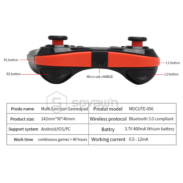 Mocute 056 Bluetooth Gamepad Android Wireless Joystick VR Controller Mobile Joypad for PUBG Smartphone Smart TV BOX PC + Holder