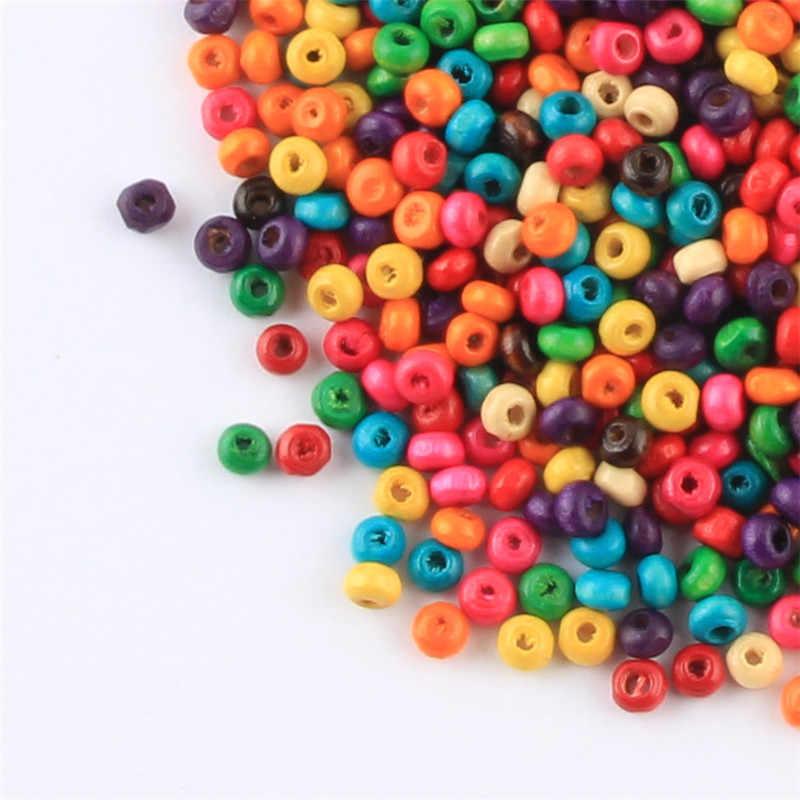 1000 stücke holzperlen Zufallsmischfarben Runde 4mm Holz Perlen für Schmuck Machen DIY Schnuller Clips Perlen