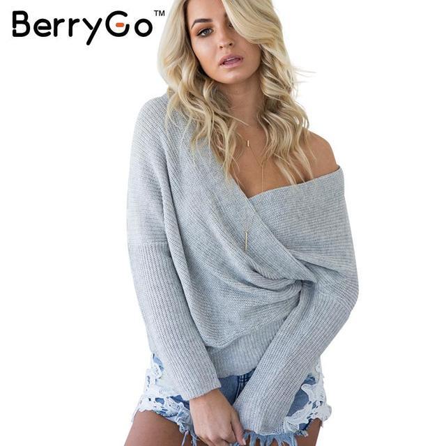 BerryGo Outono inverno grosso capuz da camisola Moda feminina manga batwing suéter branco 2016 Elegante solto v neck jumper tops