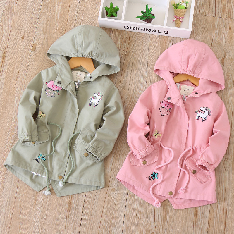 Fashion Kids Windbreaker For Girls Jackets And Coats Unicorn Embroidery Hooded Jacket Spring Autumn Children Outerwear Coats