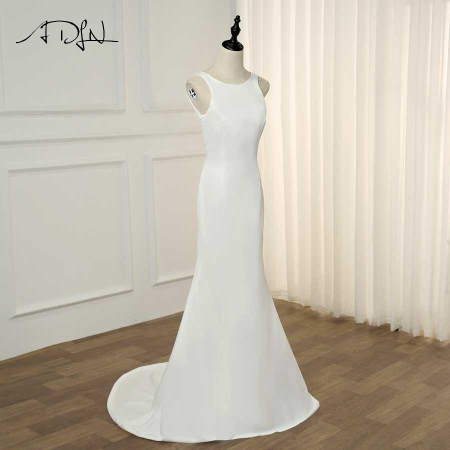 Adln Simple Elastic Wedding Dresses Scoop Neck Sleeveless Cheap Mermaid Plain Wedding Gowns Vestido De Novia