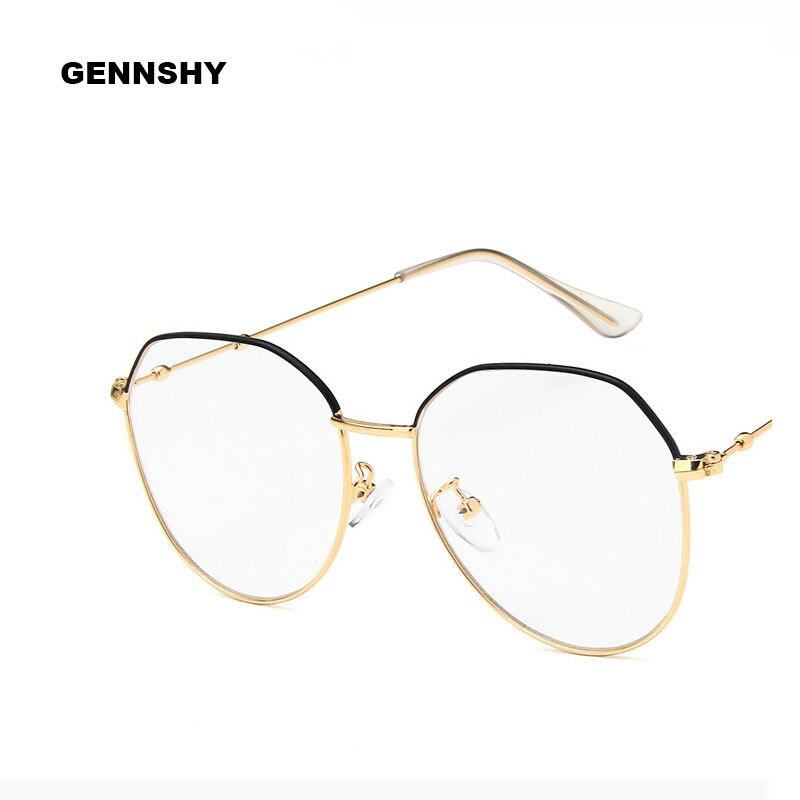 2018 Koreanische Große Polygon Brillen Rahmen Retro Anomaly Metall Optische Rahmen Hohe Qualität Mode Trend Rahmen Gold Mit Schwarz
